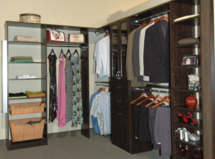 Closet organizer in chocolate pear down to the floor