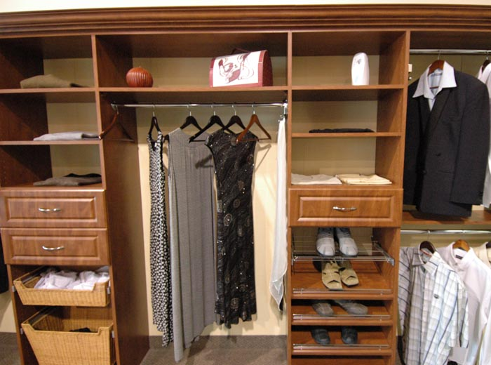 Closet organizer in classic or down to floor in summer flame