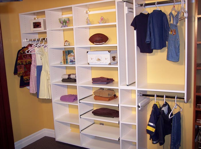 Reach in closet organizer in hanging system