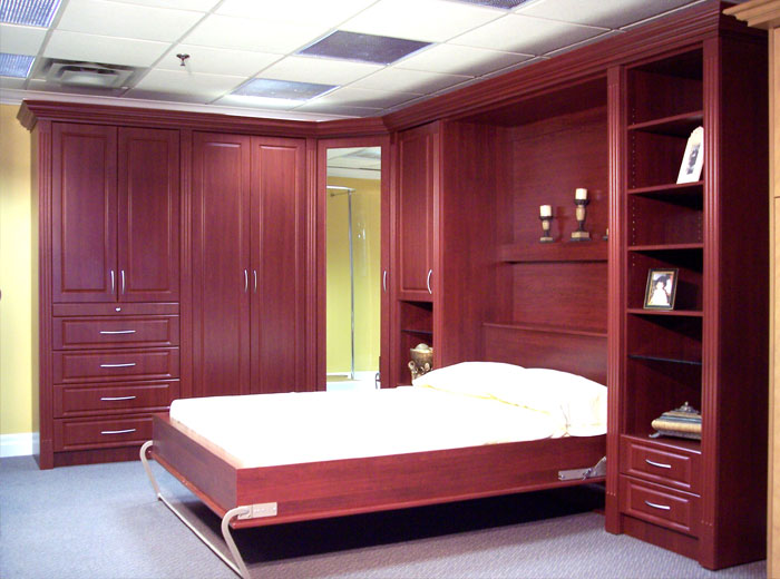 Wall bed with wardrobe units