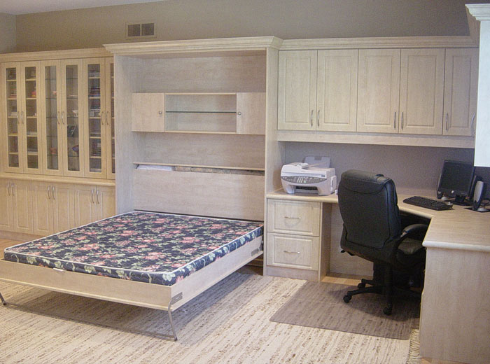 Wall bed with built-in office