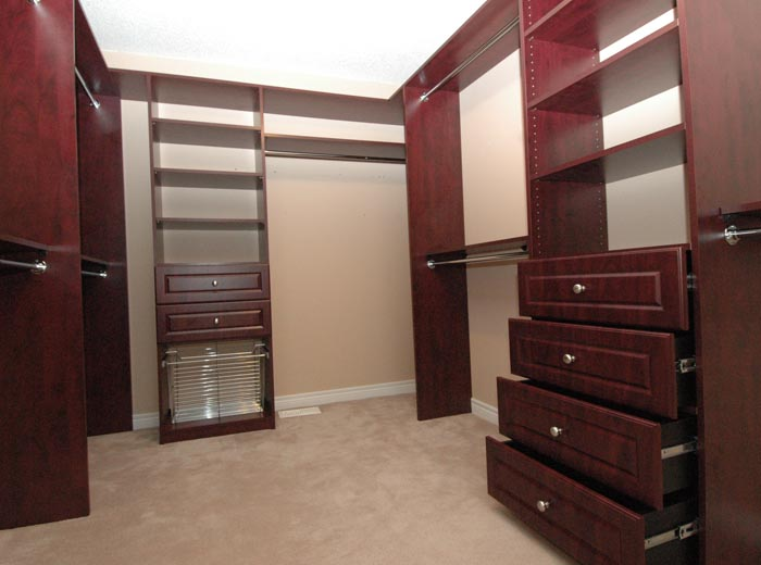 Closet organizer in honey apple and hanging system