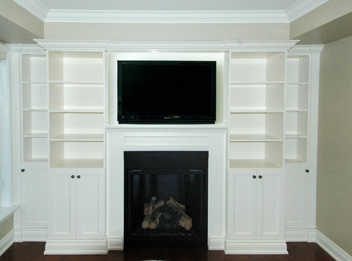 Custom-built entertainment unit with fireplace