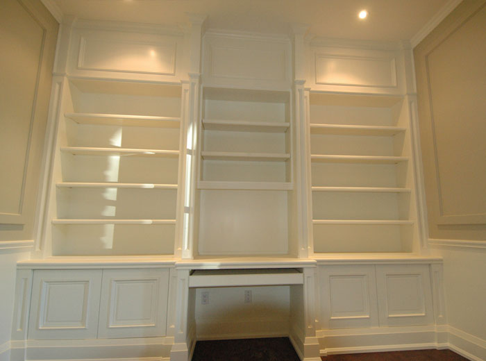 Painted custom home library unit