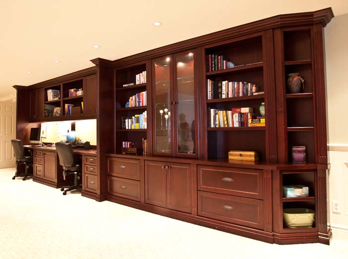 Custom home office in basement