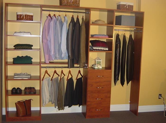 Reach in closet organizer in classic system